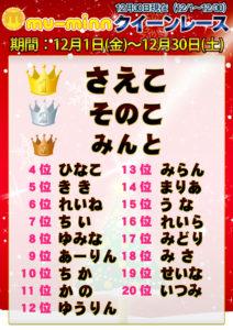 神田キャバクラ【ムーミン(mu-minn)】東京JK制服ラウンジ クイーンレース12/1~12/30ランキング