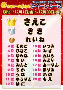 神田キャバクラ【ムーミン(mu-minn)】東京JK制服ラウンジ クイーンレース12/1~12/18ランキング
