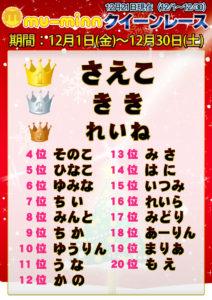 神田キャバクラ【ムーミン(mu-minn)】東京JK制服ラウンジ クイーンレース12/1~12/20ランキング
