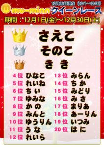 神田キャバクラ【ムーミン(mu-minn)】東京JK制服ラウンジ クイーンレース12/1~12/25ランキング
