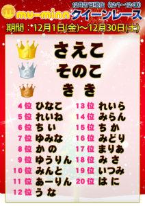 神田キャバクラ【ムーミン(mu-minn)】東京JK制服ラウンジ クイーンレース12/1~12/26ランキング