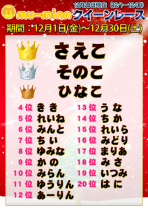 神田キャバクラ【ムーミン(mu-minn)】東京JK制服ラウンジ クイーンレース12/1~12/27ランキング