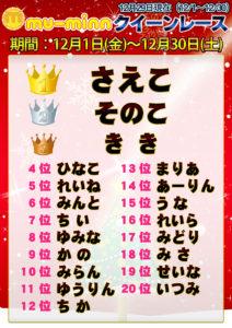 神田キャバクラ【ムーミン(mu-minn)】東京JK制服ラウンジ クイーンレース12/1~12/28ランキング