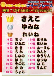 神田キャバクラ【ムーミン(mu-minn)】東京JK制服ラウンジ クイーンレース12/1~12/5ランキング