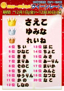 神田キャバクラ【ムーミン(mu-minn)】東京JK制服ラウンジ クイーンレース12/1~12/6ランキング