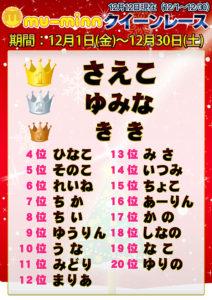 神田キャバクラ【ムーミン(mu-minn)】東京JK制服ラウンジ クイーンレース12/1~12/11ランキング