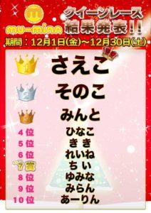 神田キャバクラ【ムーミン(mu-minn)】東京JK制服ラウンジ クイーンレース12月ランキング